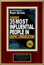 Amazing101 Award | Print Action Canada's 35 Most Influential People in Graphic Communications 2010